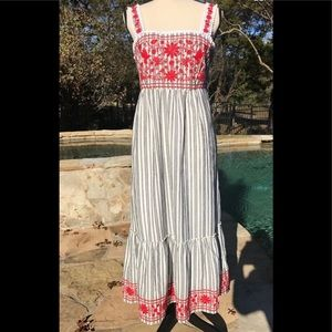 Kate Spade Broom Street Red Embroidery Maxi Dress